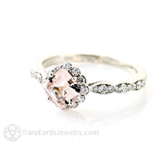 Rare Earth Jewlery Morganite Engagement Ring Asscher Cut Halo 14K or 18K Gold