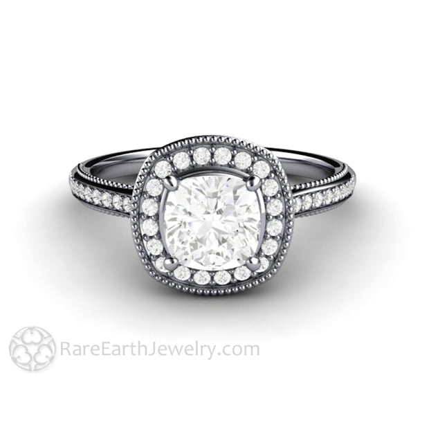 Rare Earth Jewelry Platinum Moissanite Engagement Ring 1ct Cushion Forever One Halo Filigree Setting with Milgrain