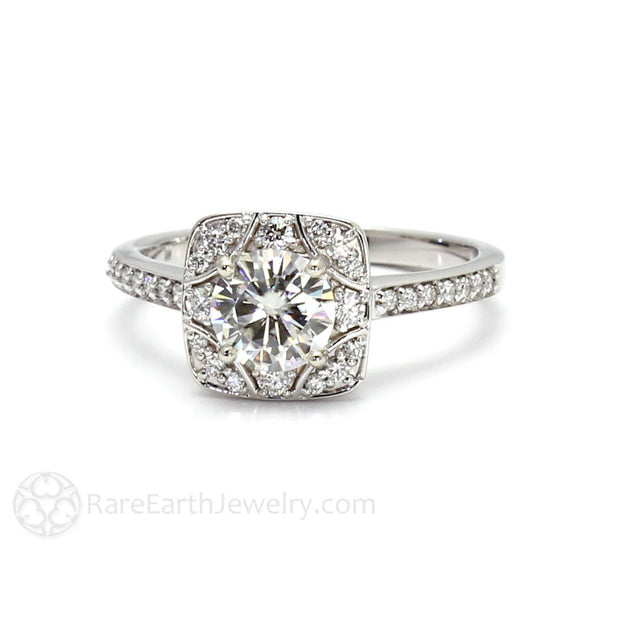 Rare Earth Jewelry Moissanite Engagement Ring with Diamond Halo 14K Gold Setting 1ct Round