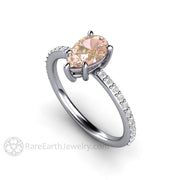 Rare Earth Jewelry Platinum Sapphire Ring Champagne Pink Natural Gemstone Pear Shaped Solitaire
