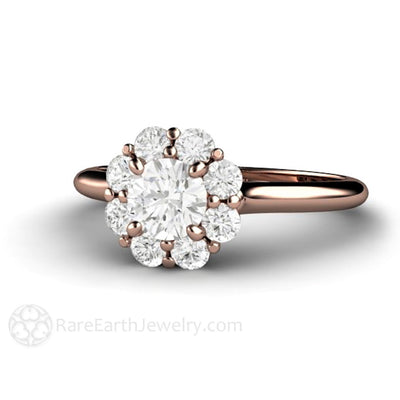 Rare Earth Jewelry 5mm Diamond Bridal Ring Round Cut Halo 14K Gold