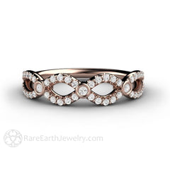 Rare Earth Jewelry Diamond Infinity Ring 18K Rose Gold