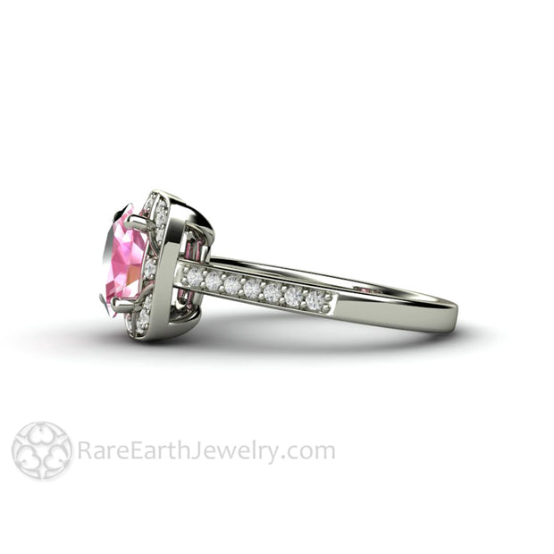 Rare Earth Jewelry 8x6 Oval Pink Sapphire Right Hand Ring 14K White Gold Diamond Accented
