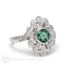 Rare Earth Jewelry Vintage Art Deco Style Green Tourmaline and Diamond Ring
