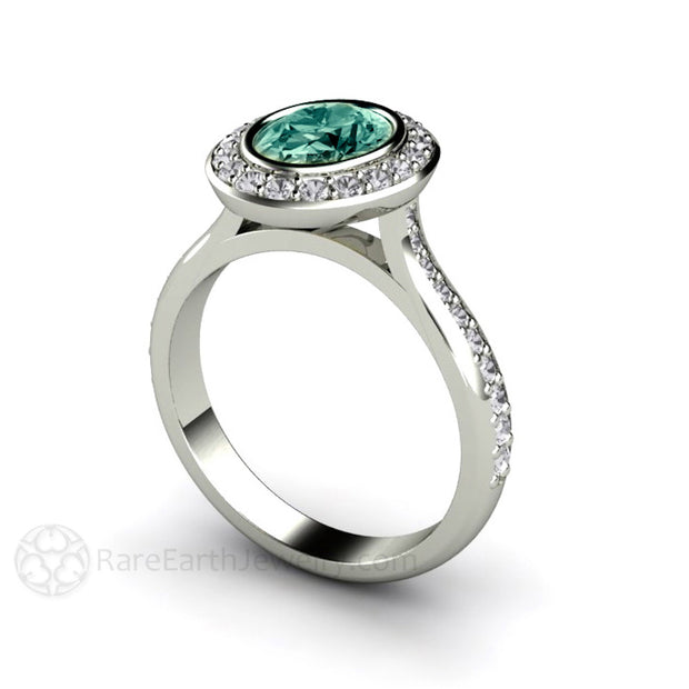 Oval Cut Green Sapphire Halo Diamond Anniversary Ring Rare Earth Jewelry
