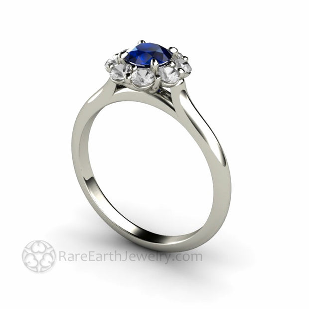 Round Blue Sapphire Flower Shaped Ring with Diamond Halo Real Sapphire Ring handmade by Rare Earth Jewelry