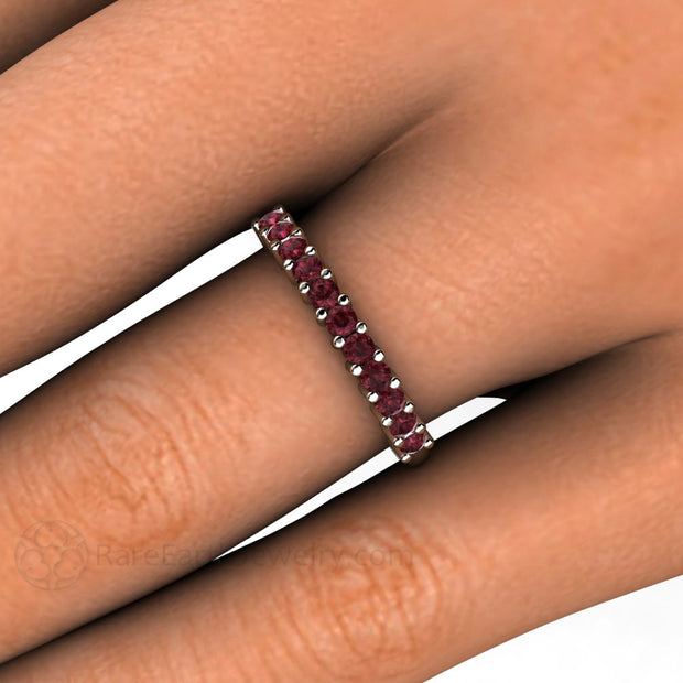 Garnet Right Hand Stacking Ring on Finger Rare Earth Jewelry