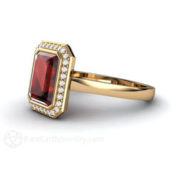 14K Bezel Halo Emerald Garnet Right Hand Ring Rare Earth Jewelry