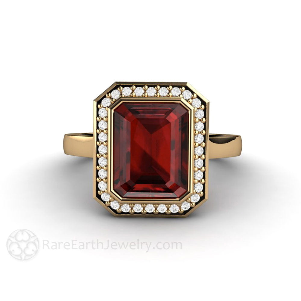Rare Earth Jewelry Red Garnet Ring Bezel Set Engagement Diamond Halo
