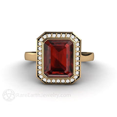 Rare Earth Jewelry Red Garnet Ring Engagement Bezel Halo 14K or 18K Gold