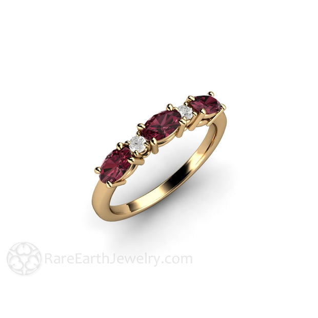 14K Oval Rhodolite Garnet and Diamond Ring Rare Earth Jewelry