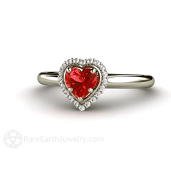 14K Natural Red Sapphire Diamond Halo Ring Heart Shaped Rare Earth Jewelry