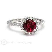 Rare Earth Jewelry Ruby Ring with Diamond Halo Round Cut 14K July Birthstone