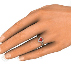 Red Sapphire Heart Ring on Finger Rare Earth Jewelry