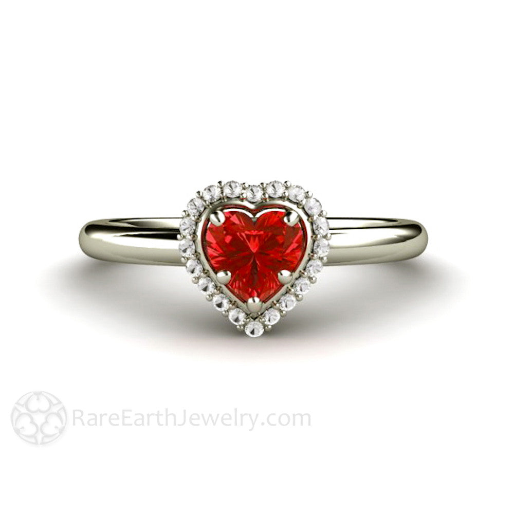 Rare Earth Jewelry Red Sapphire Heart Shaped Engagement or Promise Ring 14K Diamond Halo