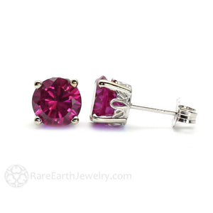 Round Rhodolite Garnet Earrings in 14K Gold Floral Post Studs
