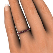 Red Garnet Stacking Band on Finger Rare Earth Jewelry