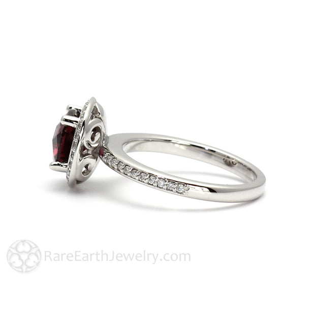 Rare Earth Jewelry 14K Gold Cushion Cut Rhodolite Garnet Anniversary Ring with Diamonds