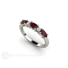 Rare Earth Jewelry 3 Stone Oval Garnet Anniversary Band 14K