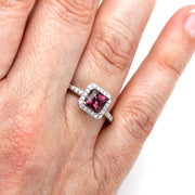 Rare Earth Jewelry Princess Cut Rhodolite Garnet Ring on Finger