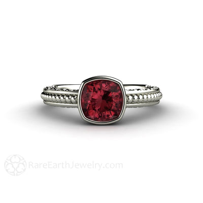 Rare Earth Jewelry Rhodolite Garnet Solitaire Ring Cushion Cut Bezel