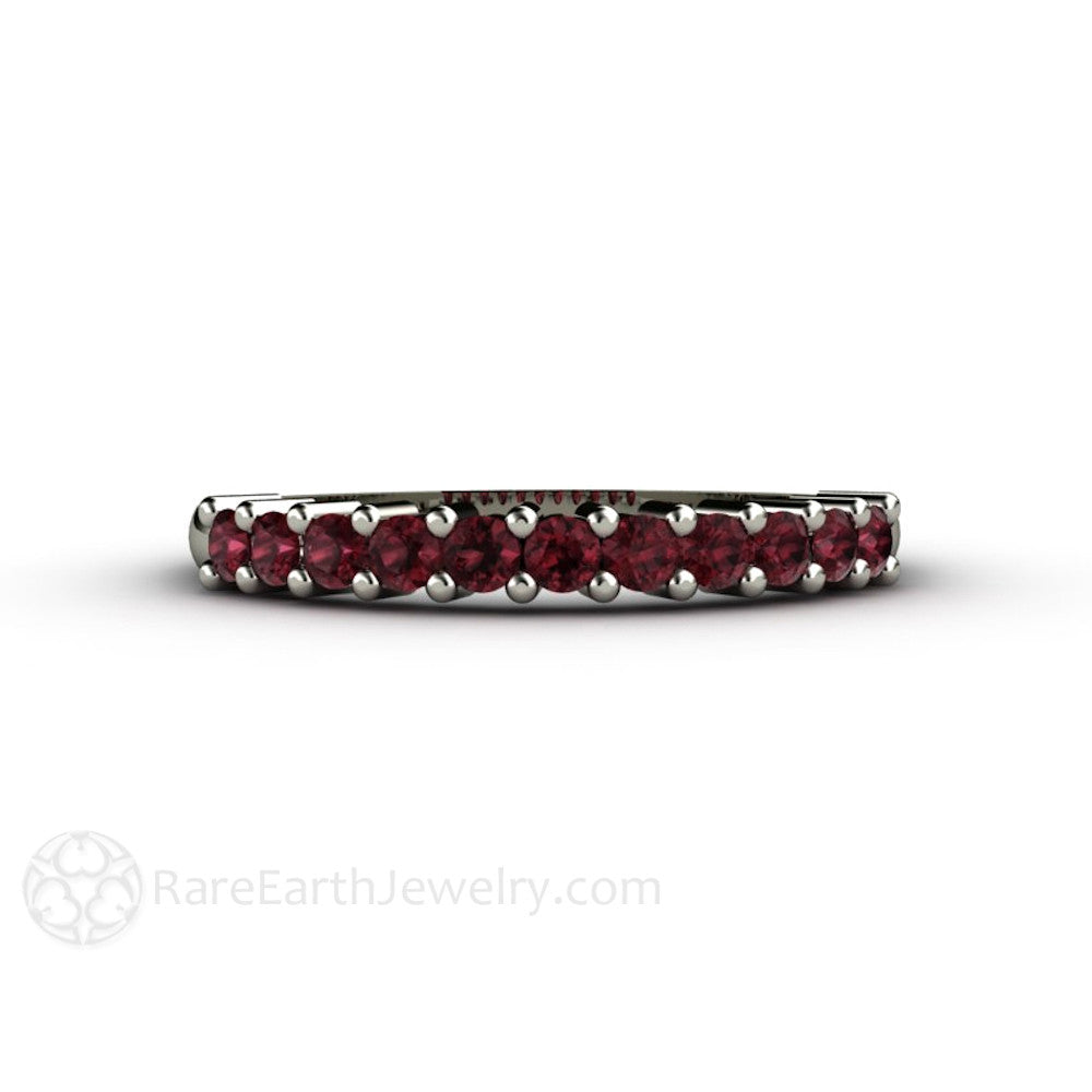 Rare Earth Jewelry Rhodolite Garnet Anniversary Band 14K White Gold