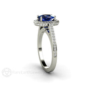 Rare Earth Jewelry Blue Sapphire Anniversary Ring Diamond Halo Accent Stones Platinum Setting