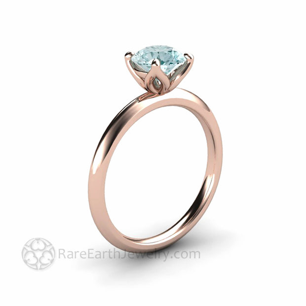 Rose Gold Aquamarine Petal Floral Style Solitaire Ring Rare Earth Jewelry
