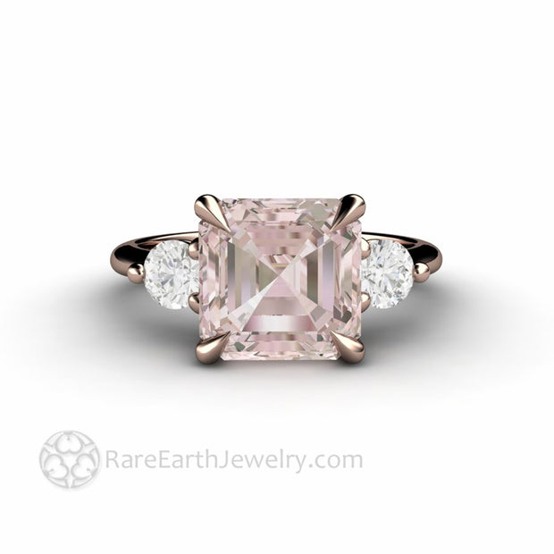 Rose Gold Asscher Cut Morganite Ring Three Stone Engagement Ring Rare Earth Jewelry