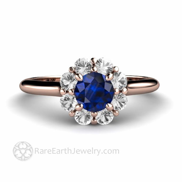 Rose Gold Blue Sapphire Engagement Ring Diamond Cluster Halo Made in USA by Rare Earth Jewelry