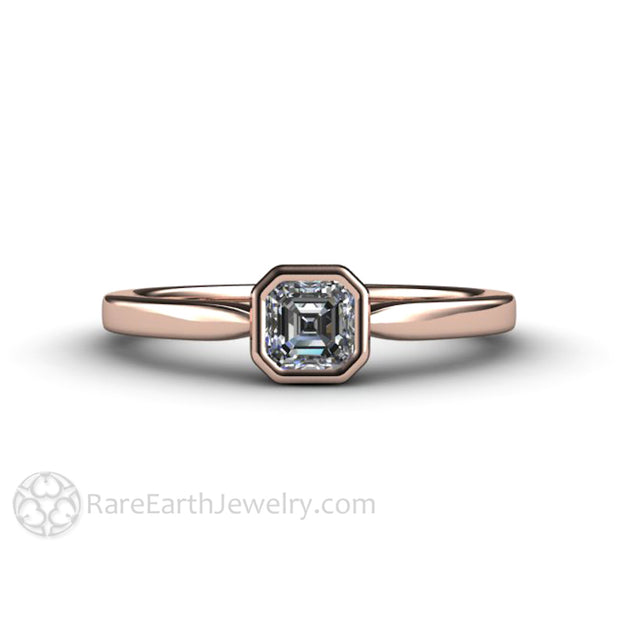 18K Rose Gold Diamond Engagement Ring Asscher Cut Rare Earth Jewelry