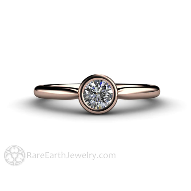 Rose Gold Diamond Engagement Ring Small Simple Bezel Style 14K Rare Earth Jewelry
