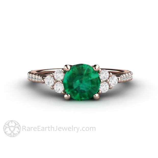 Rose Gold Emerald Engagement Ring 18K Woven Prong Setting Diamond Accent Stones Rare Earth Jewelry