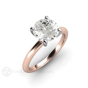 Rose Gold Engagement Ring 8mm Round Moissanirte Solitaire 4 Prong 18K Rare Earth Jewelry