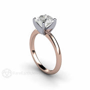 Rose Gold Moissanite Solitaire Wedding Ring April Birthstone Diamond Alternative 2 Carat Round Cut Forever One Rare Earth Jewelry