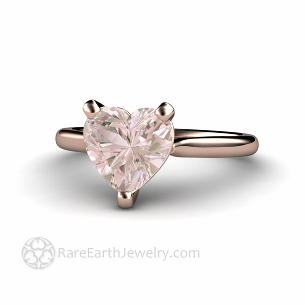 Rose Gold Pink Morganite Ring 8mm Heart Shaped Solitaire Engagement Ring by Rare Earth Jewelry