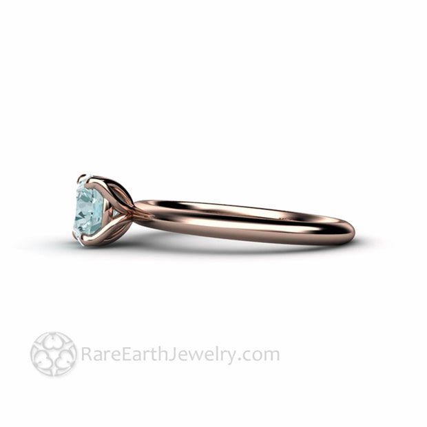 Rose Gold Solitaire Engagement Ring Round Aquamarine Rare Earth Jewelry