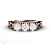 Rose Gold 3 Stone Moissanite Criss Cross Infinity Wedding Ring Rare Earth Jewelry
