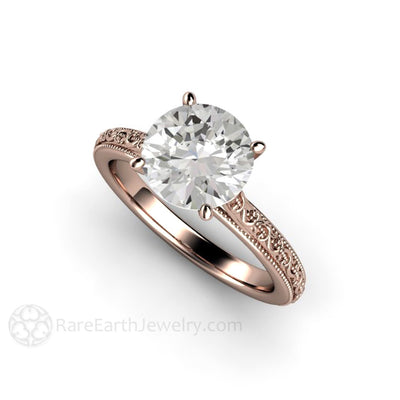 Rare Earth Jewelry 2ct Forever One Moissanite Solitaire Engagement Ring Vintage Filigree Design 14K Rose Gold