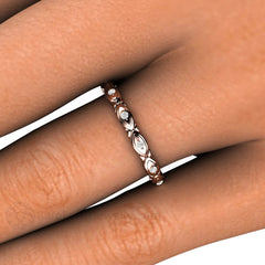 Rose Gold Deco Diamond Anniversary Band on Finger Rare Earth Jewelry