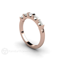 Rose Gold Baguette Diamond Ring April Birthstone Rare Earth Jewelry