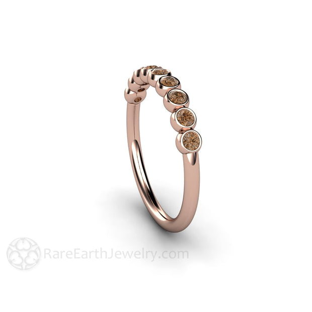 Bezel Set Brown Diamond 14K Rose Gold Stacking Ring