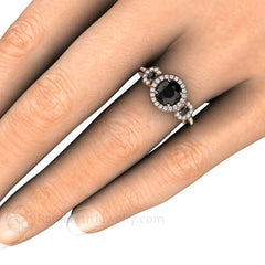 Black Diamond Right Hand Ring on Finger 3 Stone Rare Earth Jewelry