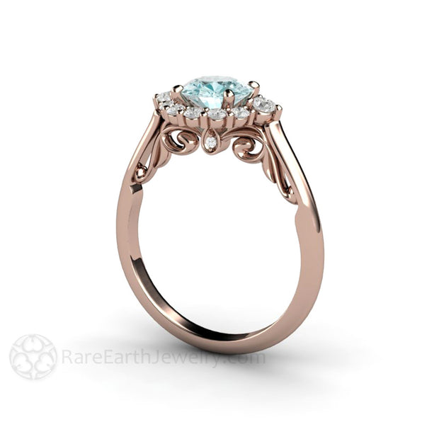 Rare Earth Jewelry Rose Gold Blue Moissanite Wedding Ring Diamond Cluster Halo Filigree Scrollwork