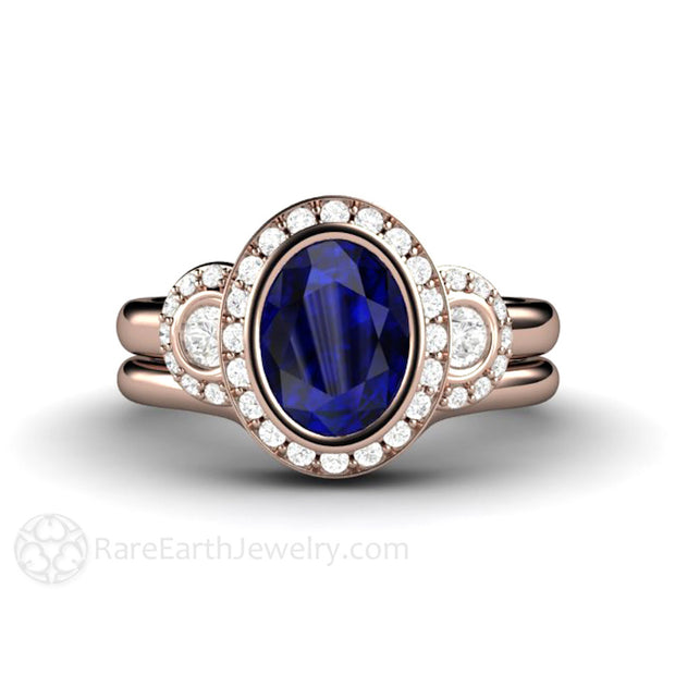 Rare Earth Jewelry Vintage Style Oval Blue Sapphire Wedding Set Halo 3 Stone Engagement Ring 14K Rose Gold