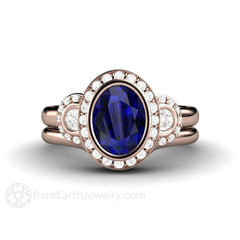 Vintage Style Oval Blue Sapphire Wedding Set Halo 3 Stone Engagement Ring 14K Rose Gold Rare Earth Jewelry