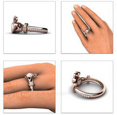 Rose Gold Sapphire Claddagh Ring on Finger Rare Earth Jewelry