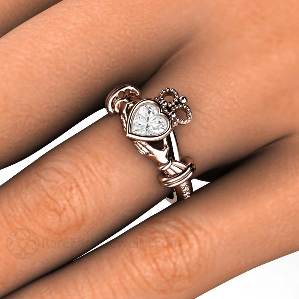 Rose Gold Claddagh Diamond Heart Ring On Finger Rare Earth Jewelry