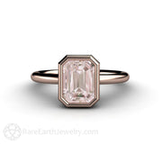 18K Rose Gold Morganite Solitaire Ring Rare Earth Jewelry