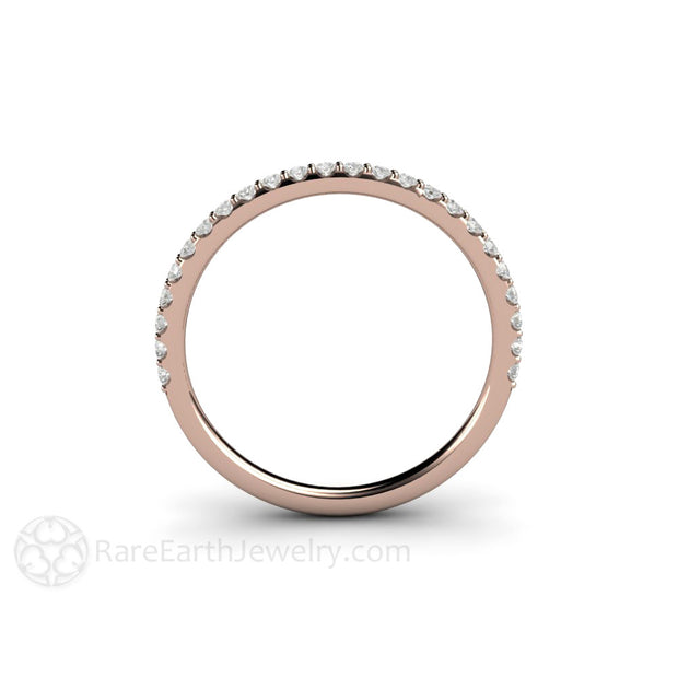 Rose Gold Diamond Ring Thin Band Stackable Rare Earth Jewelry